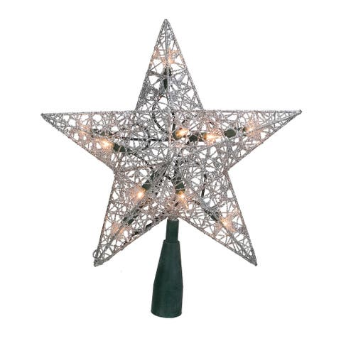 """9.5"""" Silver Glittered Wire Star Christmas Tree Topper - Clear Lights"""