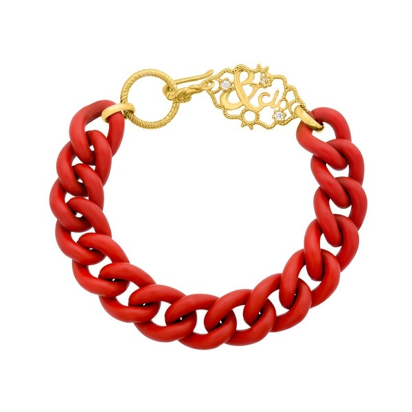 Gold Sisters Red Link Bracelet with Cubic Zirconia in 14K Gold-Plated Sterling Silver