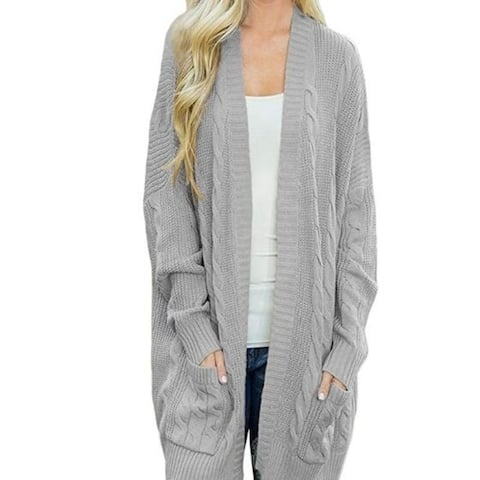 Womens Sweater Open Front Knit Texture Long Cardigan Sweater Coat