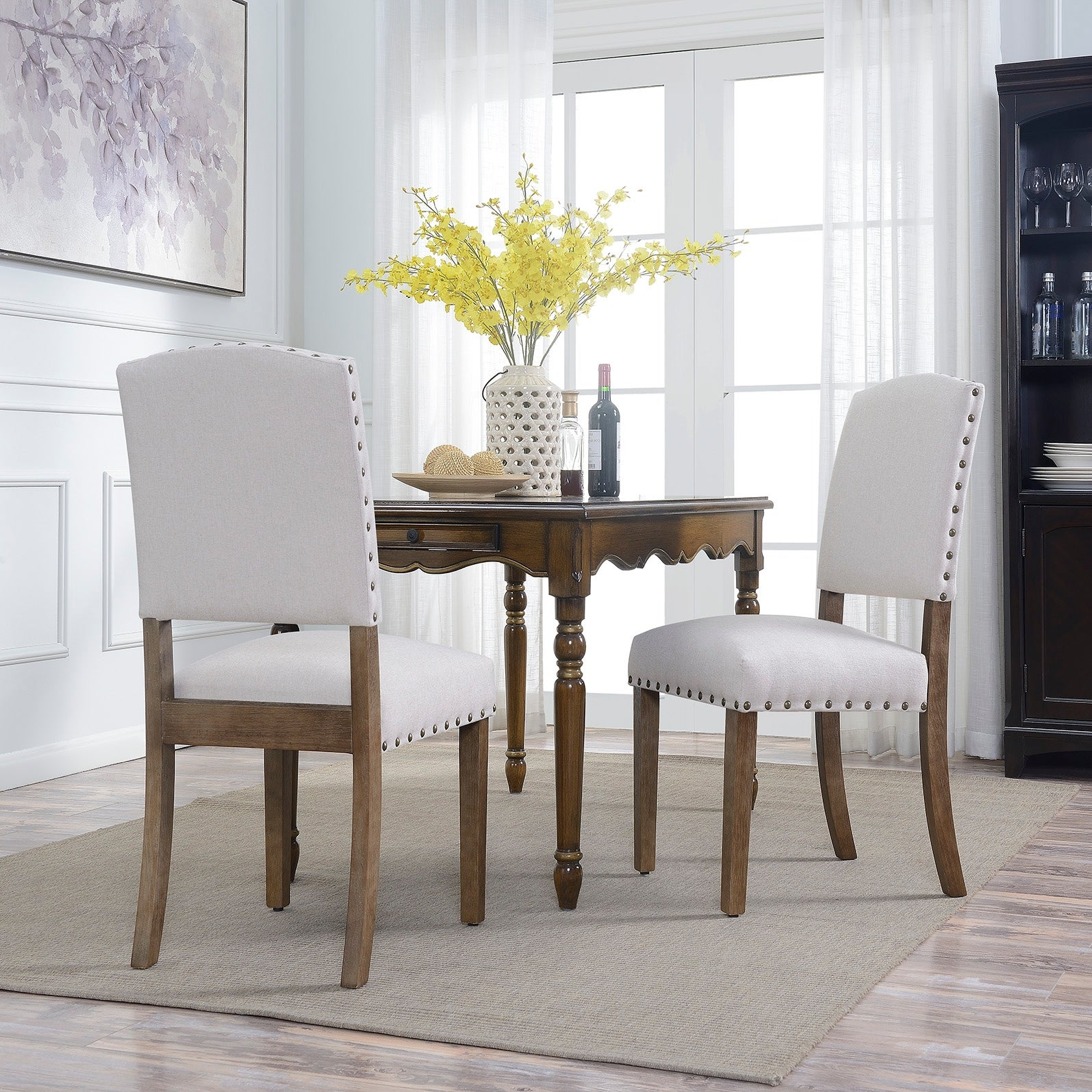 Belleze Contemporary Classic Dining Chair Set of (2) Linen Padded  Upholstered Nailhead Trim High Back Solid Wood Legs