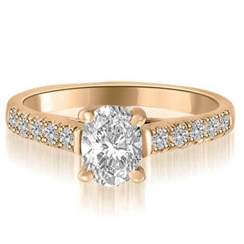 0.95 cttw. 14K Rose Gold Cathedral Trellis Oval Cut Diamond Engagement Ring