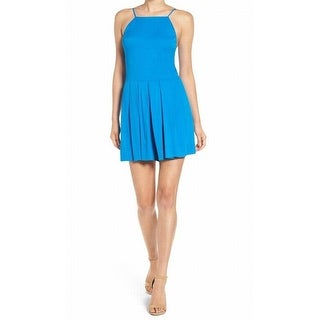 1. State NEW Matisse Blue Womens Size XL Solid Bauhaus Pleated Romper