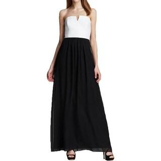 Laundry by Shelli Segal Womens Evening Dress Leather Chiffon - 4
