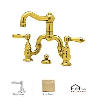 Rohl A1419LM-2 Country Bath Bridge Bathroom Faucet with Pop-Up Drain and Metal L