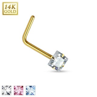 14Kt Gold Prong Square CZ L Bend Nose Ring - 20GA (Sold Ind.)
