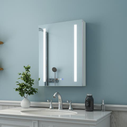 ExBrite LED Lighted Bathroom Medicine Cabinet with Mirror,Recessed or Surface Mount,Defog, Stepless Dimming