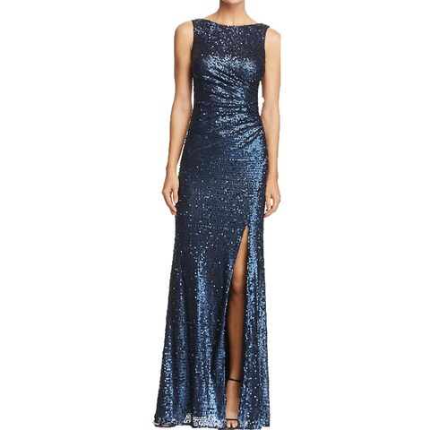Adrianna Papell Womens Evening Dress Sequined Cowl Back