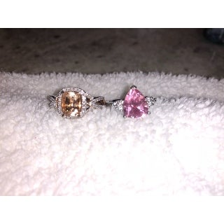 Miadora Signature Collection 10k Rose Gold Cushion-Cut Morganite and 1/6ct TDW Diamond Crossover Engagement Ring (G-H, I1-I2)