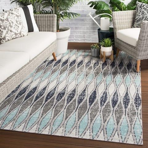 Hertford Grey/ Blue Indoor/ Outdoor Geometric Rug