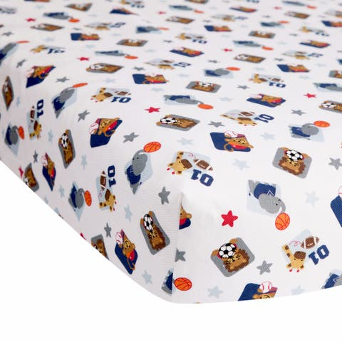 Lambs & Ivy Future All Star Animal Sports 100% Cotton Baby Fitted Crib Sheet