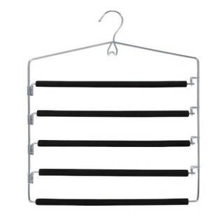 Closet Spice Chrome 5 Tier Pant Hanger with Flexible Swing Arm and Multi-Purpose Hook - Set of 2