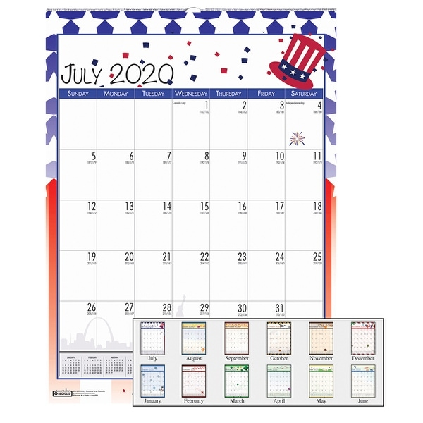 "Monthly Academic Wall Calendar, Seasonal Holiday Depictions, July-June, 12"" x 16-1/2"" - One Size. Opens flyout."