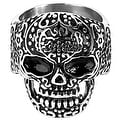 Men's Stainless Steel Day of the Dead Antiqued Finish Ring - Sizes 9-13 - Thumbnail 1