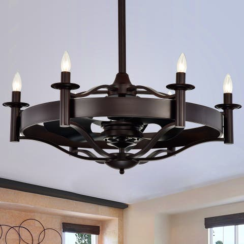 Jule Contemporary Candelabra 32-Inch 3 Blade Lighted Ceiling Fan
