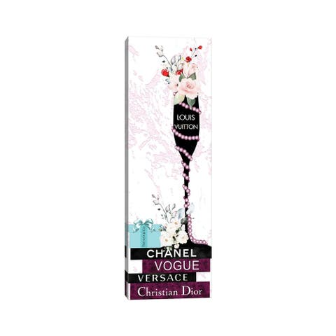 """iCanvas """"Louis Champagne Glass With Flowers Pearls On Burgundy & Black Fashion Books"""" by Pomaikai Barron Canvas Print"""
