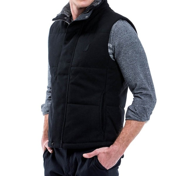 55a3641c9556 Shop Nautica NEW Black Mens Size XL Full-Zip Vest Wool Mock-Neck Jacket -  Free Shipping Today - Overstock - 19816268