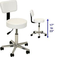 LCL Beauty Adjustable White Salon Stool with Back Support and Foot Rest