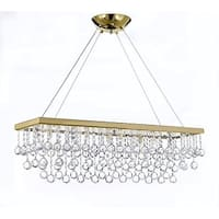 "10 Light 40"" Crystal Rectangular Chandelier With Crystal Balls - Gold"