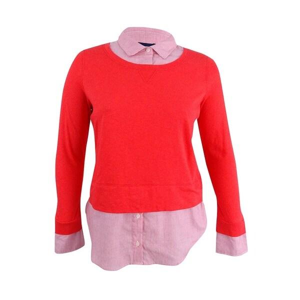 8e65022c0de Shop Tommy Hilfiger Women s Cotton Layered-Look Sweater (L