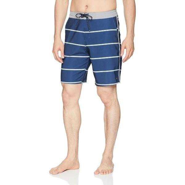 f054c285af Shop Quiksilver Blue Mens Size 38 Stripe Swimwear Board Surf Shorts ...