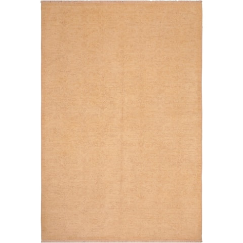 Contemporary Sun faded Alkaid Tan/Brown Hand knotted Rug - 6'2 x 8'10 - 6 ft. 2 in. X 8 ft. 10 in.