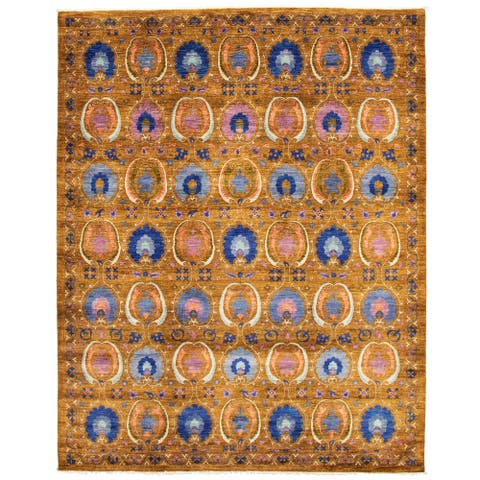 ECARPETGALLERY Hand-knotted Lahore Finest Collection Brown Wool Rug - 9'3 x 11'4