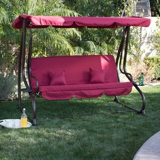 BELLEZE Outdoor Canopy Swing Motion Gilder Converting Patio Rocking Chair UV Blocker 3 Seat Flatbed Cool Seater Burgundy
