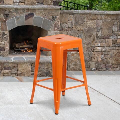 Metal Indoor/ Outdoor Industrial Counter Height Stool