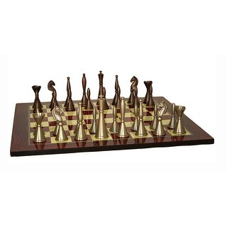 Brass Art Deco Chess Set With Red Decoupage Board - Multicolored