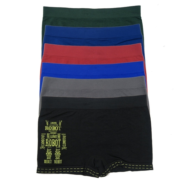Boys 6 Pack Seamless Robot Boxer Briefs