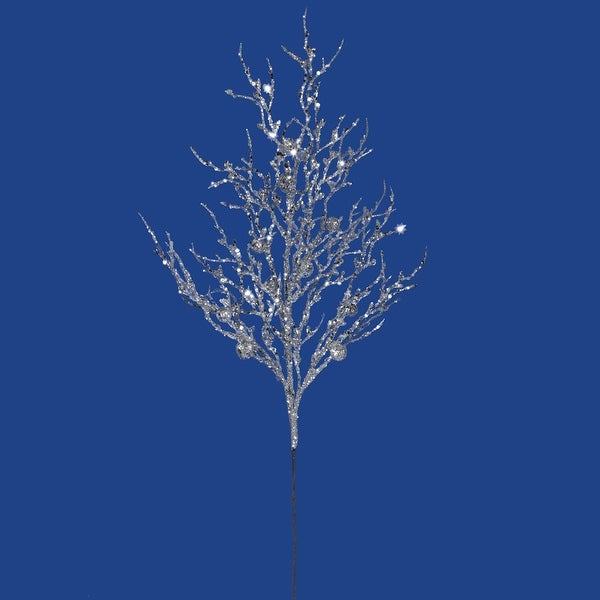 "29"" Silver Sparkle Berry Twig Spray"