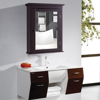Gymax Bathroom Mirror Cabinet Wall Mounted Medicine Storage Adjustable Shelf Brown