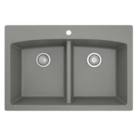 Karran Drop-in Quartz 50/50 Double Bowl Kitchen Sink
