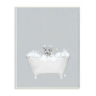 Stupell Industries White Tiger Blue Bath Cute Animal Design Wood Wall Art