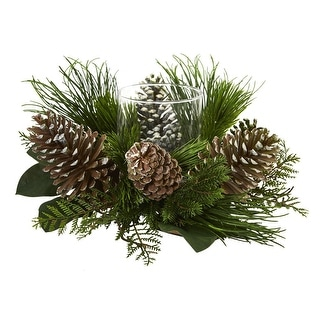 """Nearly Natural 21"""" Pine Cone and Pine Artificial Arrangement Candelabrum"""