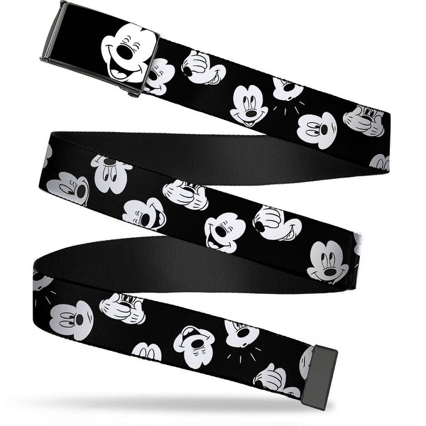 Mickey Mouse Face3 Close Up Brushed Black White Cam Chrome Mickey Web Belt