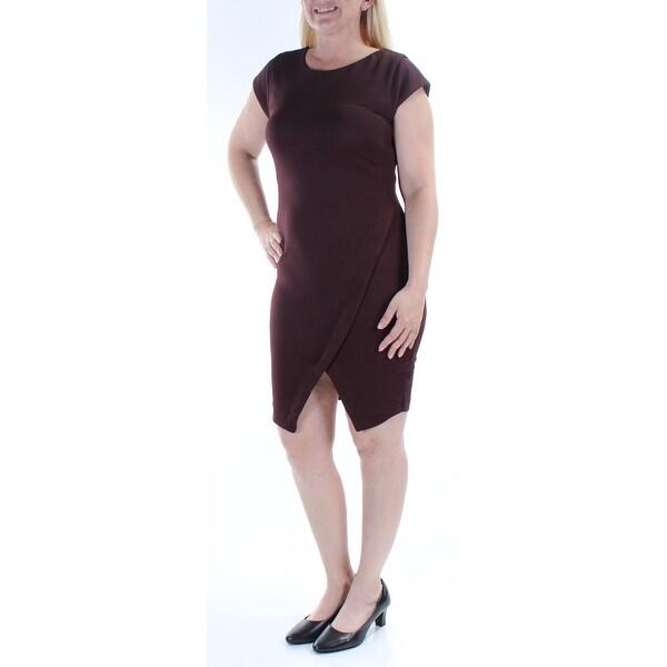 BAR III Womens Purple Cap Sleeve Jewel Neck Knee Length Body Con Dress Size: M