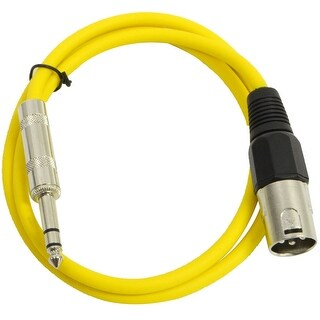 "SEISMIC AUDIO Yellow 1/4"" TRS - XLR Male 3' Patch Cable"