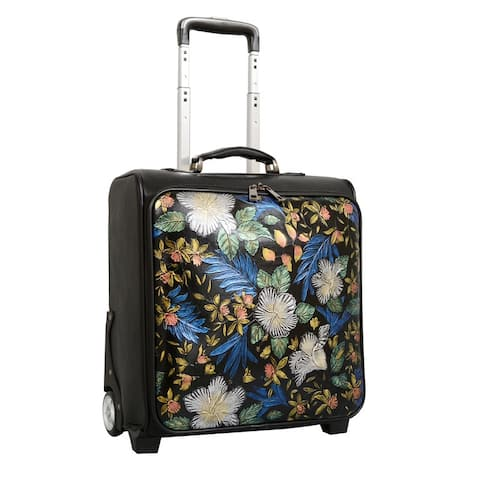"""Mellow World 16"""" Embossed Floral Rolling Carry-on Suitcase"""