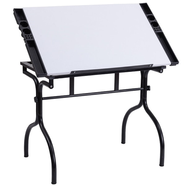Costway Drafting Table Drawing Desk Adjustable Folding Craft Station Art  Hobby White