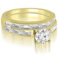 1.95 cttw. 14K Yellow Gold Elegant Round And Baguette Cut Diamond Bridal Set