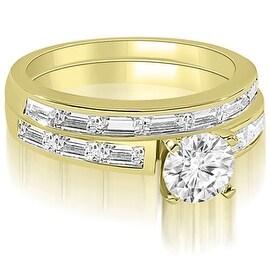2.20 cttw. 14K Yellow Gold Elegant Round And Baguette Cut Diamond Bridal Set