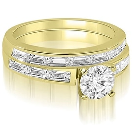 2.45 cttw. 14K Yellow Gold Elegant Round And Baguette Cut Diamond Bridal Set