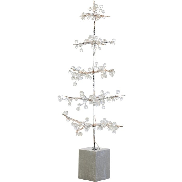 2' Glamour Time Pre-Lit Potted Ice Beaded Artificial Christmas Twig Tree - Warm Clear LED Lights