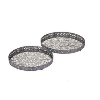Set of 2 Shabby Chic Filigree Metal and Glass Decorative Trays 18
