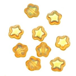 Czech Glass Beads Topaz AB Tiny Stars 6mm (25)