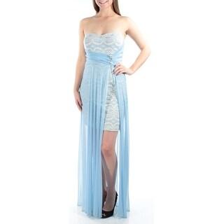 Womens Light Blue Sleeveless Full Length Empire Waist Prom Dress Size: 9