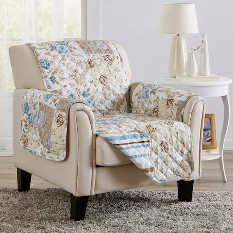Great Bay Home Maribel Floral Patchwork Reversible Chair Furniture Protector