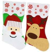 Set of 2 Pack:  Felt Christmas Santa and Reindeer Character Stockings, 18 Inch