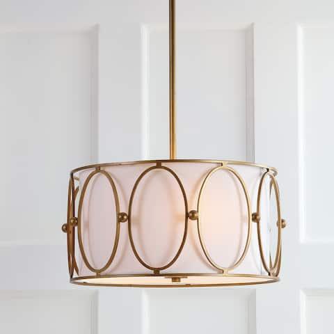 "Violetta 3-Light 19"" Metal LED Pendant, Gold/White by JONATHAN Y"